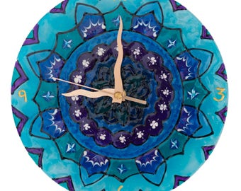 Mandala Wall Clock, Round Wall Clock, Unique Wall Clock in turquoise ad blue shades