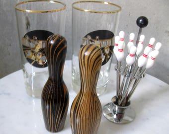 Bowling Pin Salt & Pepper Glasses Hors d' Oeuvre Forks Vintage 1960s Kitsch