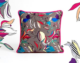 Square pillow 40 x 40 cm Iris pattern manufactured in France and hand