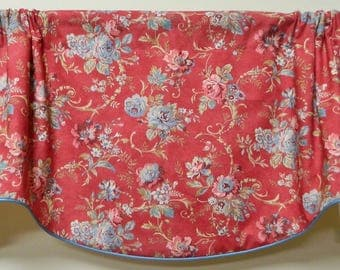 Ralph Lauren-Dubois Floral / Red-Window Valance / Lined, Corded Rod Pocket Scalloped Valance / Cotton Fabric