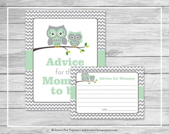 Owl Baby Shower Advice for Mom Cards - Printable Baby Shower Advice Cards - Green Owl Baby Shower - Owl Shower - Advice for Mom - SP137