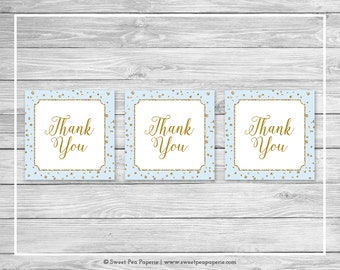 Blue and Gold Baby Shower Favor Thank You Tags - Printable Baby Shower Thank You Tags - Blue and Gold Baby Shower - Favor Tags - SP146