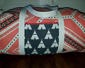 Coral aztec indian tribal duffle bag