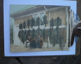 Vintage Photograph Sepia , Hand-Colored , Hunt Scene, Animal Skins