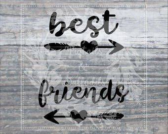 Best Friends SVG EPS dxf png Commercial Use Silhouette Circuit Heat Transfer Vinyl