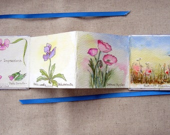 Decorative Miniature handmade art book / coffee table book.Miniature original watercolour flower paintings.