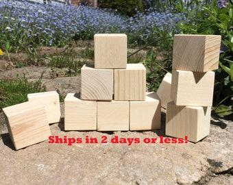 "Set of 40, 1.5"" Square Wooden Blocks, Craft Blocks, Building Blocks, Baby Shower Blocks! Alphabet Blocks"