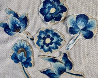 English Crewel Work Embroidery Flowers 18th Century  SIX