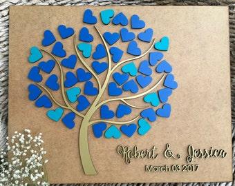 Wedding guest book, Alternative wedding guest book Wedding tree guest book 3D Rustic guest book Hearts wood guest book Custom guest book, 01