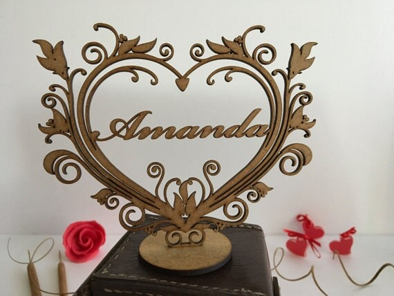 Personalised wood heart Christmas gift Personalised gift Wooden shape Freestanding heart Laser cut ornament Custom signs Shabby chic hearts