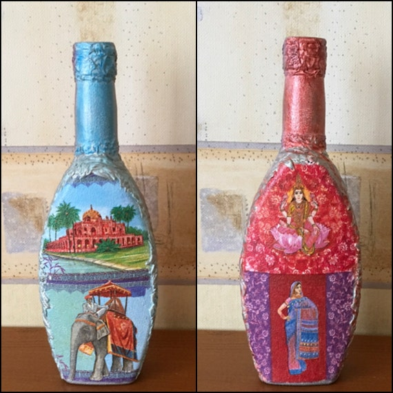 Decoupage bottle double sides Handmade Indian decoupage bottle Christmas gift idea Gift for her Housewarming gift Decorative Indian Ornament