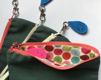 Teal purse with felt zipper charm