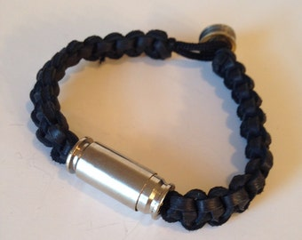 Black Deerskin Leather Bracelet with Nickle Plated 40 Cal. and 9 mm Bullets, Bullet jewelry, Mens or Womens Bracelets, Upcycled bullets