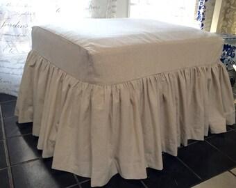 Cotton Ottoman Slipcover