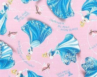 Disney Cinderella at the Ball Dazzling Pink  Premium 100% Cotton fabric (SC7)