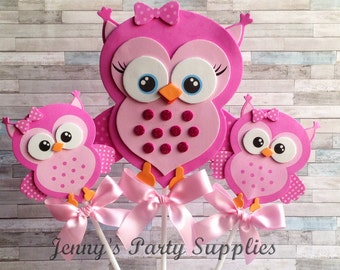 Set of 6 Owl Baby Shower Pink Centerpieces, Owl Birthday Party Table Decorations, Blue or Pink Owl Diaper Cake Toppers