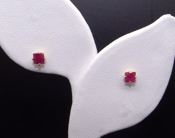 Adorable 14k Yellow Gold .50ct Princess Cut Red Ruby Stud Earrings