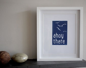 Original, hand printed A4 lino print gift - 'Ahoy There', bold print with a sea-side theme