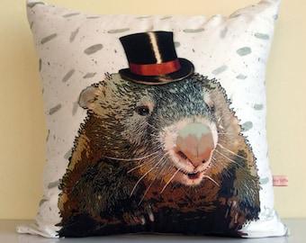 wombat pillow,Australia,Wombat,cute animal pillow,top hat headband,wildlife art,ecofriendly,organic cotton,decorative pillow,43cm x 43cm