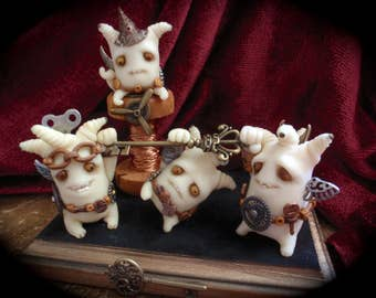 Steampunk inspired little tinkerers . polymer clay wee beasties