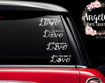 All You Need is Love Military -vinyl sticker -vinyl decal -car decal -car sticker -window decal -window sticker -air force navy army marine