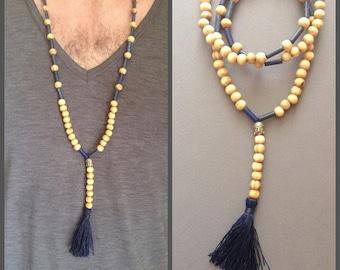 Necklace style mala man pearl wood, lapis lazuli -Perle Buddha / gemstone and pompon blue / unisex / bohemian /