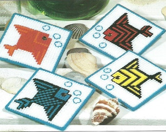 DIGITAL PATTERN: Beach Nautical Tropical Fish Coasters  7 ct Plastic Canvas
