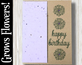 """CUSTOMIZABLE - Grows 13 different Wildflowers - """"Happy Birthday"""" - Plant the Card! - #BD016"""