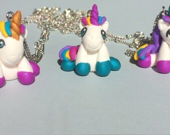 Unicorn, gift personalized, Unicorn, gift for her necklace, handmade, kawaii, polymer clay, custom, Unicorn birthday