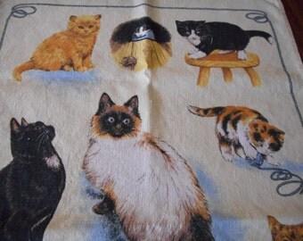 Vintage Cat, Kitten Towel - Linen, Collectable