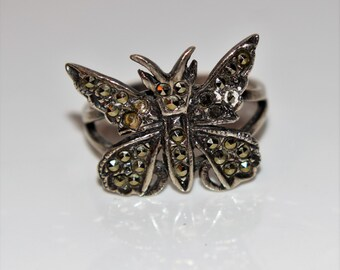 Vintage Silver 925 Marcasite Butterfly Ring size N ~ 6 3/4