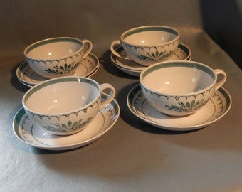 Vintage MCM Set ARABIA FINLAND Green Thistle Cups Saucers Porcelain Mid Century  Free Shipping!