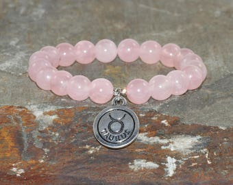 Rose Quartz Bracelet, Taurus Bracelet Stack, Zodiac Jewelry, Wrist Mala Beads, Astrology, Healing Crystals, Taurus Birthday Gift! Madagascar