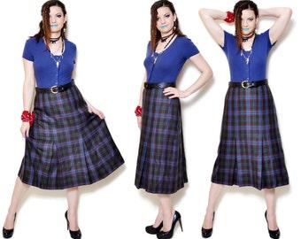 80s a line skirt high waist Plaid 80s Tartan Vintage Flared Midi Women Godet Woman Full Pin Up Skirts Folk Woman Scottish