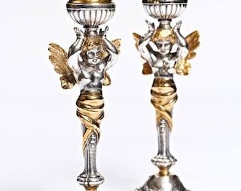 "Silver Candlesticks ""Angels"""