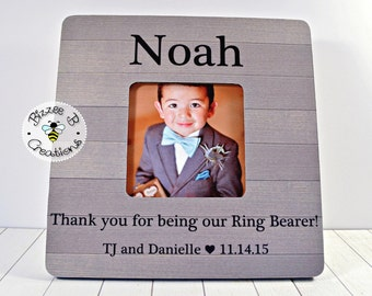 ON SALE Ring Bearer Picture Frame Gift, Personalized Wedding Thank You, Thank you for being our Ring Bearer, Wedding Party Gift, Ring Bearer