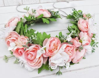 Tieback Flower Crown Headband, Adult Flower Crown, Flower Girl Flower Crown, Bridal Floral Crown, Halo Wreath, Wedding Flower Crown, Toddler