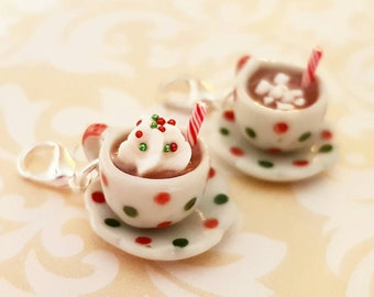 Christmas Hot Chocolate Cup Charm - Polymer Clay Hot Cocoa and Whipped Cream - Miniature Food Jewelry - Christmas Miniature Food jewelry