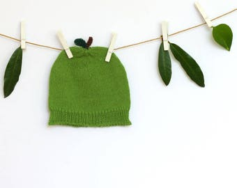 Knitted baby hat, knitted apple hat, green apple hat. Merino Wool | 0 - 12M