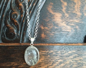 Sterling Silver Quartz Pendant Necklace