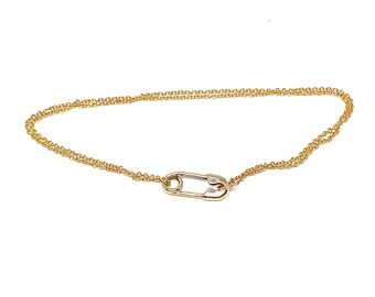 Solid 14 Karat Gold Safety Pin Bracelet