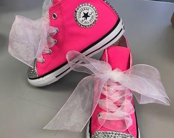 Hot pink toddler converse bling
