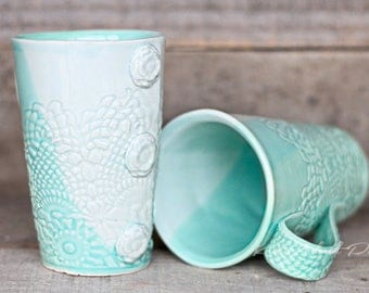 Sea Mist tall mugs