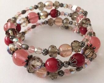 Pink Crystals Bracelet, Red crystal Bracelet, Bridesmaids Bracelet, Womens Bracelet, Gift for mom, Pink Jewelry, gifts for her, wrap bracele