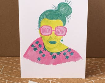 Rock Star-Greeting Card-Funky-Fun-Quirky-Colourful