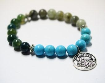 Scorpio Bracelet with Labradorite, Moss Agate & Turquoise Gemstones/Astrology Jewelry for Star Signs/Horoscope Bracelet