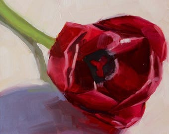 Jeweled Tulip- Original Oil Painting on 6x6 inch Ampersand Gessobord