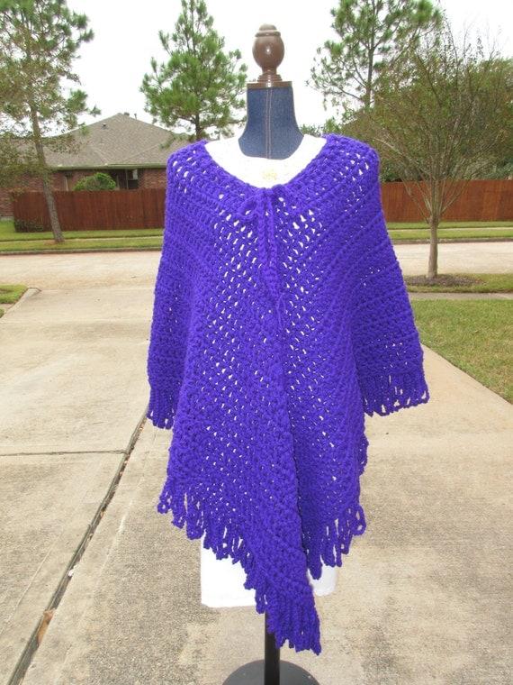 Free Crochet Patterns Plus Size Ponchos : Crochet Poncho: Plus Size 2XL Crochet Purple Poncho