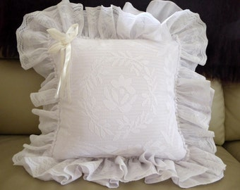 Vintage white frill cushion cover with lace overlay