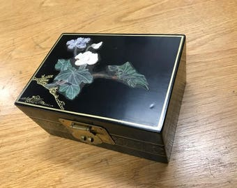 Jewelry Box with hand-painted soapstone carving